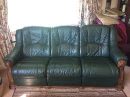 updated must go solid oak green leather sofa and electric