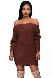 sweater dress womens shoulder ripped back sleeve sweater dress brown
