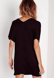 petite black wide v neck t shirt dress missguided ireland