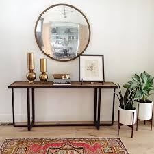 Yukon Console Table Round Convex Mirror Over Console Table Entryways Lobbies