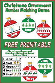 christmas ornament number matching game free printable