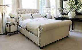 Chesterfield Sleigh Bed Cream 5ft King Size Chenille Bed Frame Sleigh Bed 6 Colours