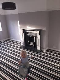 our new grey lounge walls in crown cloudburst striped grey