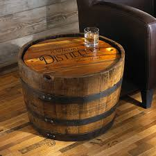 whiskey barrel side table living room personalized whiskey barrel side table design near brown