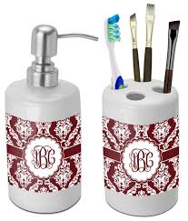 maroon u0026 white bathroom accessories set ceramic personalized