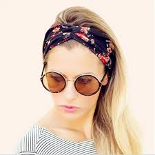 women vintage headband floral wide stretch hair band elastic