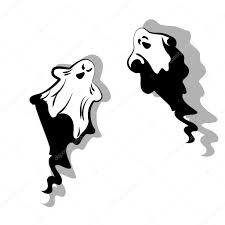 halloween vector set of ghost with shadow cartoon halloween vector illustration