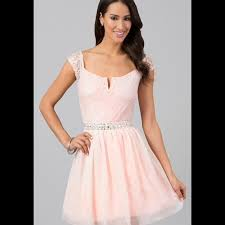 light pink short dress deb dresses light pinkpeach short dress with lace cap sleeves