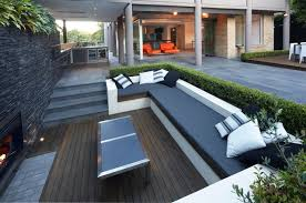 deep seat outdoor cushions patio contemporary with built in bench