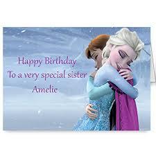 disney frozen personalised sister birthday card amazon co uk