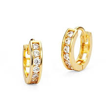 baby earrings 14k gold plated brass baby channel huggy
