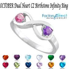 s day birthstone rings october dual heart cz birthstone infinity silver ring mix stones
