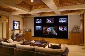interior luxurious home theater room desgin with high carving