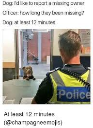 Dog Owner Meme - dog i d like to report a missing owner officer how long they been