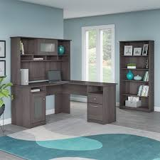 overstock l shaped desk cabot l shaped desk with hutch and 5 shelf bookcase in