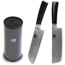 reviews xyj fine quality knife holder with 2pcs damascus kitchen