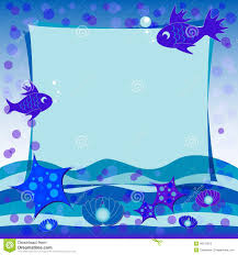 children u0027s illustration with label for text under the sea blue