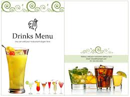 drink menu template free drink menu template