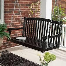 decor traditional black wooden wicker porch swing