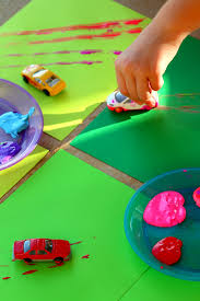 car track painting with wheels