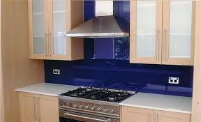 Kitchen Backsplash Blue Subway Glass Tile Backsplash With Canopy - Blue glass tile backsplash