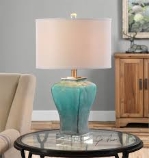 uttermost valtorta blue green glass table lamp home decor