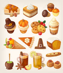 set of colorful tasty thanksgiving day desserts candies