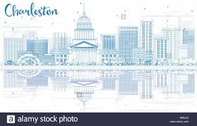 West Virginia travel art images Outline charleston skyline with blue buildings and reflections jpg