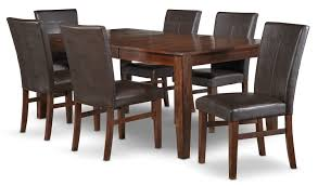 kona 7 piece dining room set dark oak leon u0027s