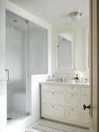 Mirrored Subway Tile Backsplash Bathroom Transitional With by Cream Mirror With Cream Washstand Transitional Bathroom