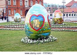 big easter eggs big easter eggs in front of the cathedral 7 zagreb 2016 stock