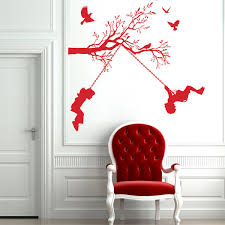 children on swings wall sticker kids and trees wall decor