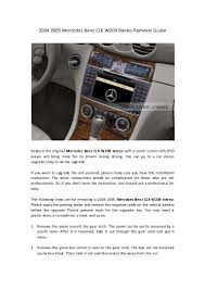 2004 2005 mercedes benz clk w209 stereo removal guide