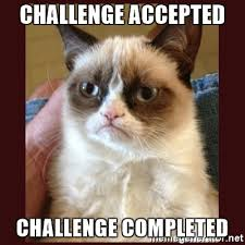 Challenge Accepted Meme Generator - challenge accepted challenge completed tard the grumpy cat