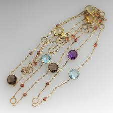 yellow gold gemstone necklace images 36 inch multi gemstone station necklace bezel settings 14k jpg