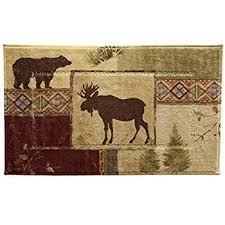 Moose Bathroom Accessories by Amazon Com Bacova Mountain Lodge Bath Rug Kitchen U0026 Dining