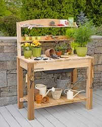 gardening bench potting bench two women and a hoe