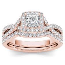 Rose Gold Wedding Ring Sets by 1 4ct Diamond Criss Cross Halo Engagement Ring Set 14k Rose Gold