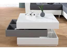 table basse carree pivotante blanc laque