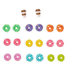 claires earrings glittery multi color donut and coffee stud earrings s us