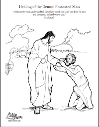 Jesus Heals The Blind Man Preschool Craft Jesus And The Demon Possessed Man Coloring Page Script And Bible