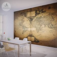 vintage map wall mural self adhesive photo mural artbedding vintage world map 1752 hemisphere wall mural self adhesive peel stick photo mural