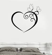 Heart Wall Stickers For Bedrooms Wall Decal Heart Butterfly Bedroom Romantic Vinyl Sticker Unique