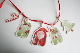 christmas ornament elves santa set of 5 handmade shabby chic