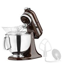 luxury kitchen with glossy chocolate brown kitchen aid artisan