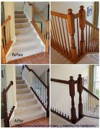 Restaining Banister Renovated Staircase With Java Gel Stain On Treads And Banister