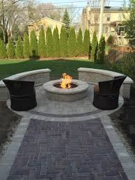 stone fire pit landscape contemporary with lawn tables