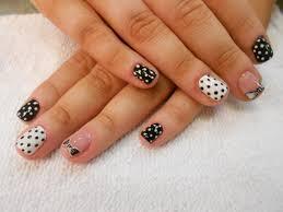 shellac nail art black and white nail design dots and bow nail