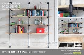 Build A Bookshelf Easy Homemade Modern Ep47 Pipe Shelves