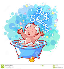baby shower card with cute baby boy in bath stock vector image
